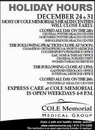 12-24/31 Holiday Hours For Cole Memorial