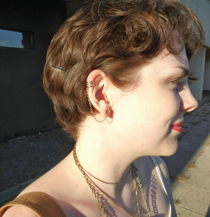 ear cuff, jewelry, earring, pixie hair cut, short curly hair, face profile, pretty lady, Suzanne Amlin, A Coin For the Well