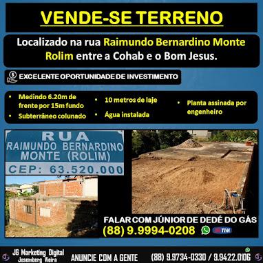 Vende-se um terreno na Rua Raimundo Bernardino Monte em Orós