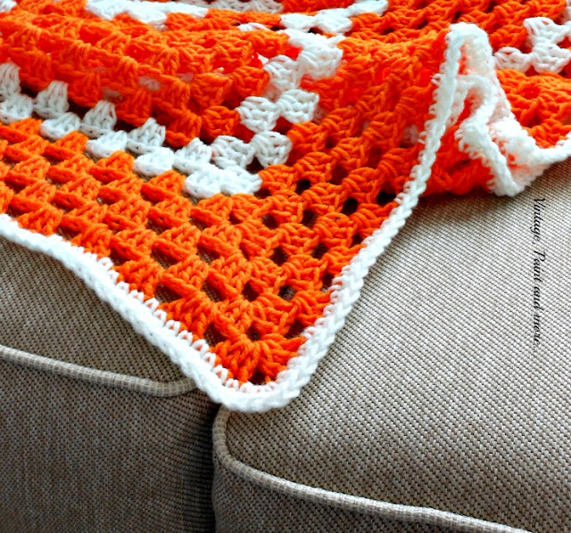 Vintage, Paint and more... afghan crocheted in a simple granny square pattern