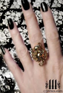 brass octopus ring