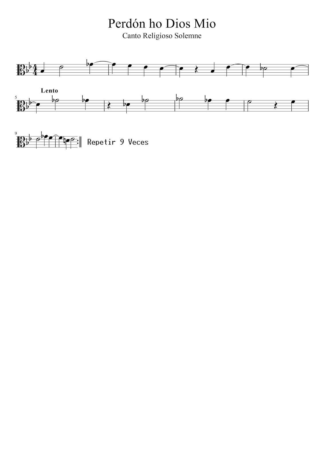 Perdón Ho Dios Mio Partitura en Clave de Do para Viola  Segunda Voz