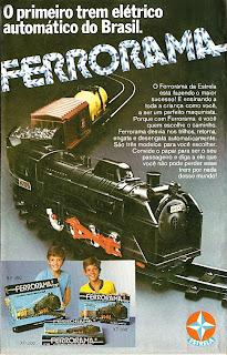 Propaganda ferrorama brinquedos estrela de 1979.  os anos 70; propaganda na década de 70; Brazil in the 70s, história anos 70; Oswaldo Hernandez;