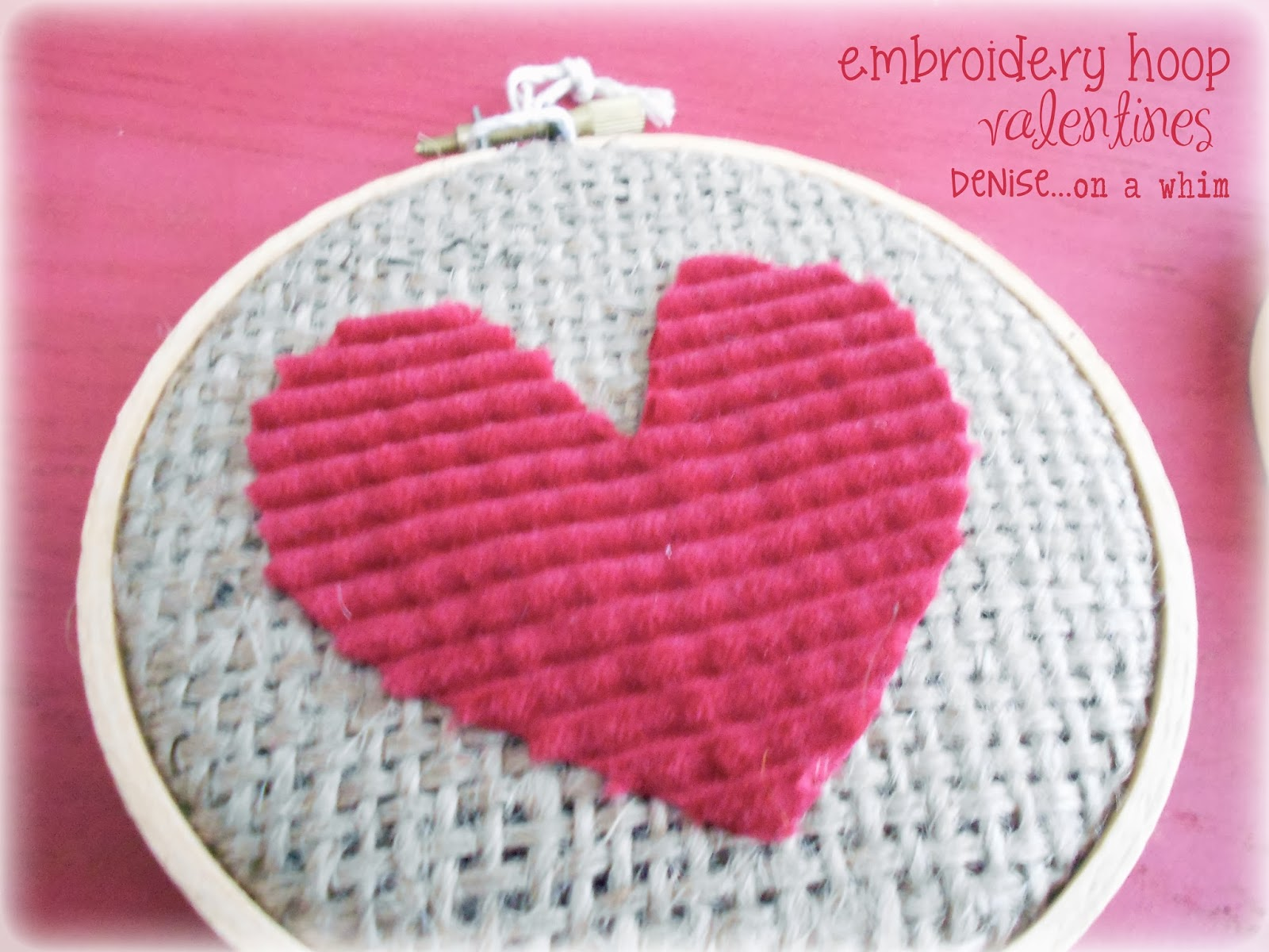 Corduroy Scrap Heart in an Embroidery Hoop via http://deniseonawhim.blogspot.com