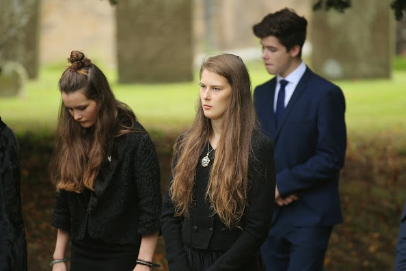 Mourners attend the funeral of Deborah, Dowager Duchess of Devonshire at St Peters Church, Edensor, on 02.10.2014 in Chatsworth, England