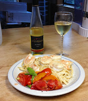 photo of Garden Harvest salad fettucini shrimp stevenot wine monarae-beads who does she bead she is