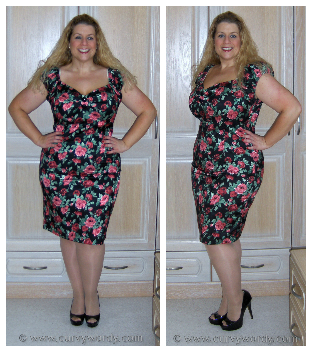 curvy wordy collectif dolores rose print wiggle dress 18 xxl