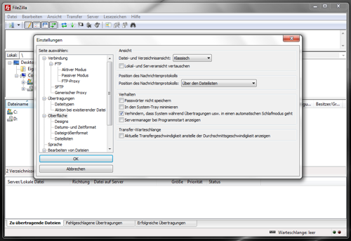 Einstellungsassistent Filezilla