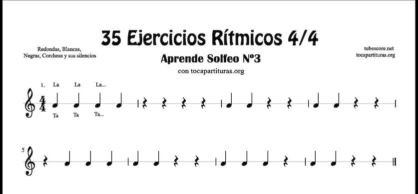 53 Ejercicios Rítmicos en 4/4 Partituras de Ritmos con Negra, Corcheas, Blanca y sus Silencios Aprende Solfeo y Rítmica