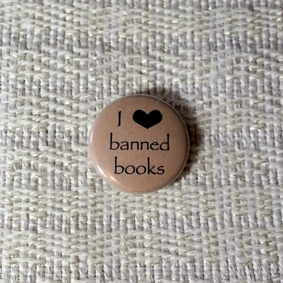 I Heart Banned Books Button or Magnet