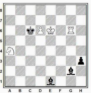Estudio artístico de ajedrez compuesto por G. M. Kasparyan (Romana de Sah, 1980)