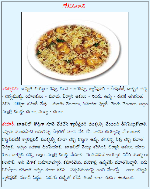 Healthy food recipes gobi pulao recipe in telugu gobi pulao recipe in telugu forumfinder Gallery