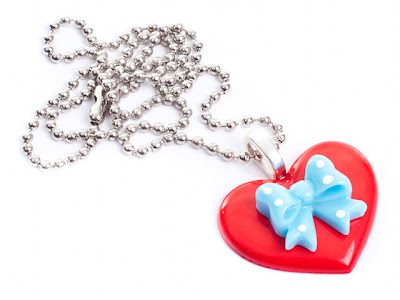 Kitsch Heart & Polka Dot Bow Necklace from www.tizzalicious.com