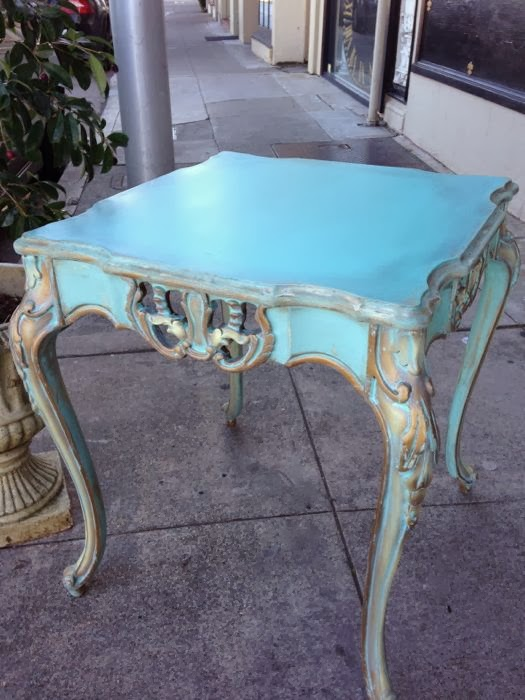 Turquoise painted french table.