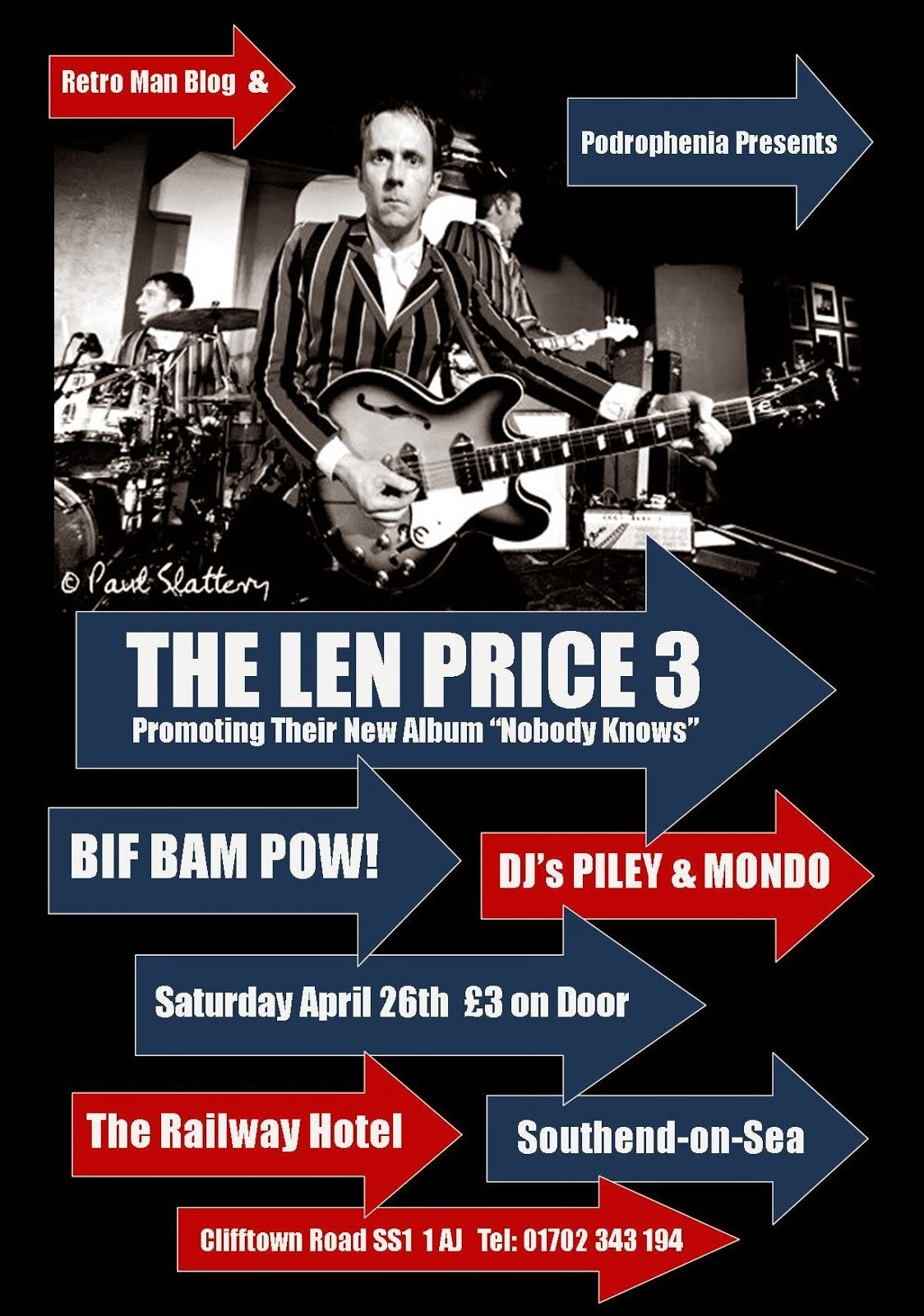Retro Man Blog Presents: The Len Price 3 + Bif Bam Pow! + Podroprenia DJs April 26th