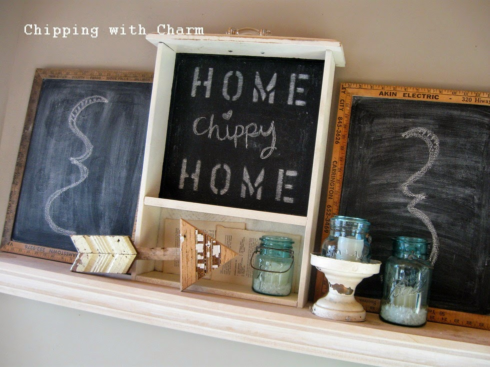 Chipping with Charm: Simple Winter Mantel 2015...http://chippingwithcharm.blogspot.com/