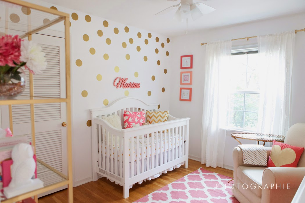 Running from the Law: Mim's Coral, Gold & White Nursery