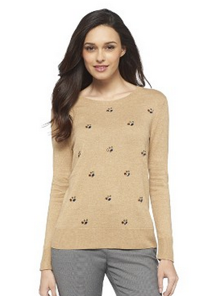 target embellished crew neck pullover sweater merona