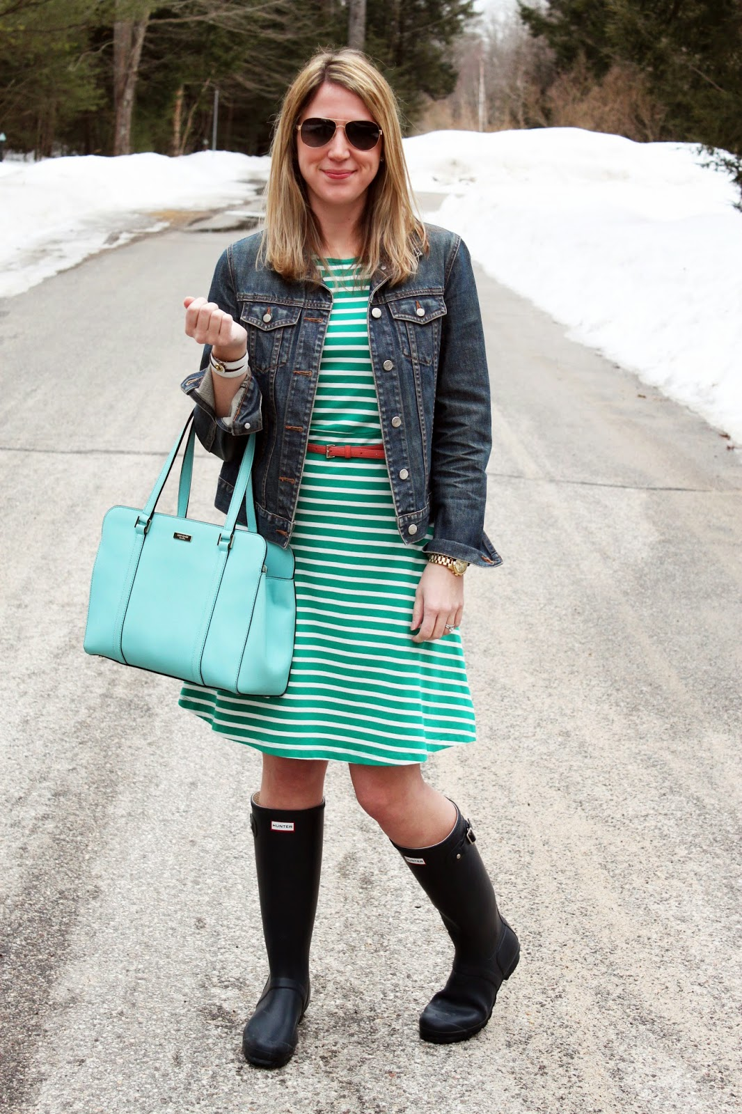 The Salty Hanger :: Lucky Stripe (jean jacket + striped dress + Hunter Boots)