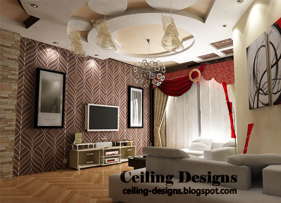 Attractive Creative Gypsum Ceiling Designs For Living Room With Fall Accessories And  Lighting