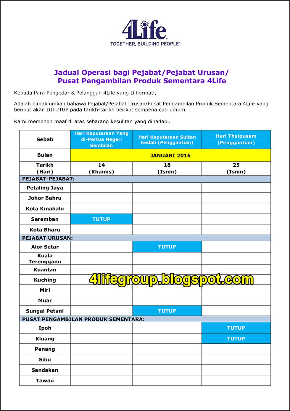 foto Jadual Operasi Bulanan Januari 2016 4Life Malaysia