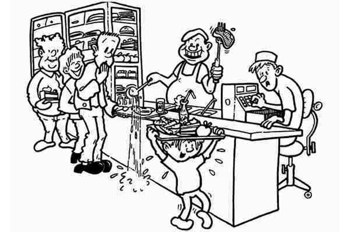 صورة طفل يحمل اطباق الطعام فوق رأسه والكل يراقبه للتلوين
