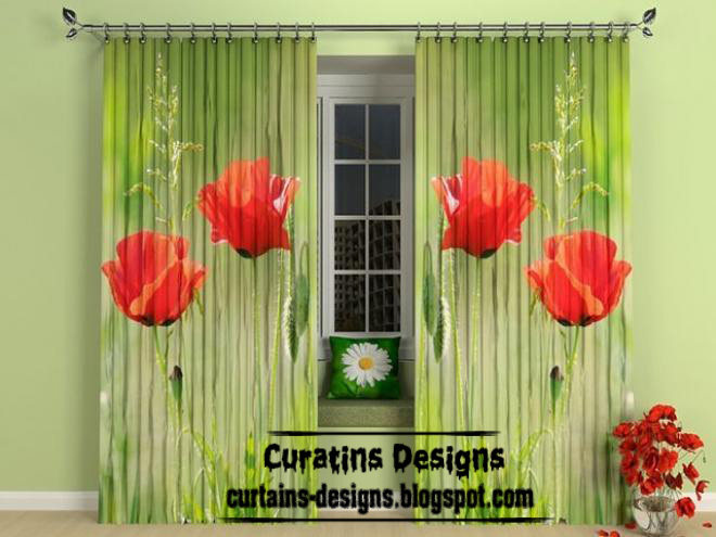 Modern green panel curtain style for living room | Curtain Designs ...