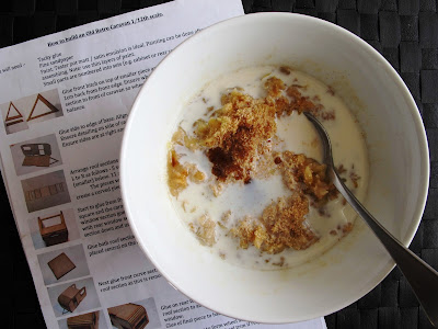 Bowl of porridge, with instructions for a 1/12 scale retro caravan kit underneath it.