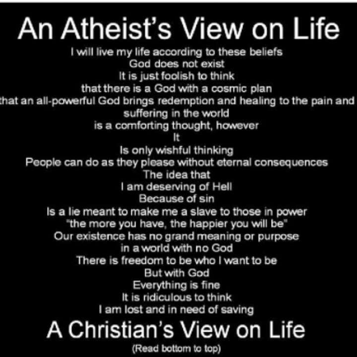 the atheists and christians views on life
