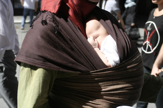 Baby-wearing on Istiklal Street.