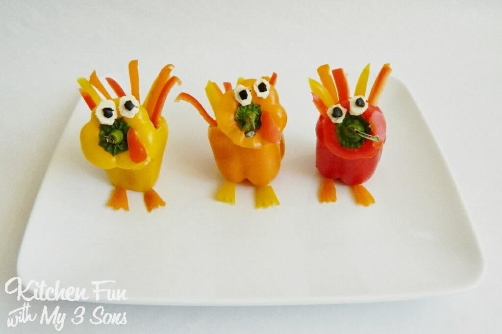 Thanksgiving Turkey Hummus Peppers Kitchen Fun With My 3