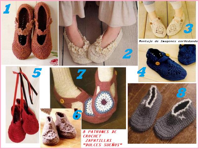 """8 Patrones de Crochet Zapatillas """"Dulces Sueños"""""""