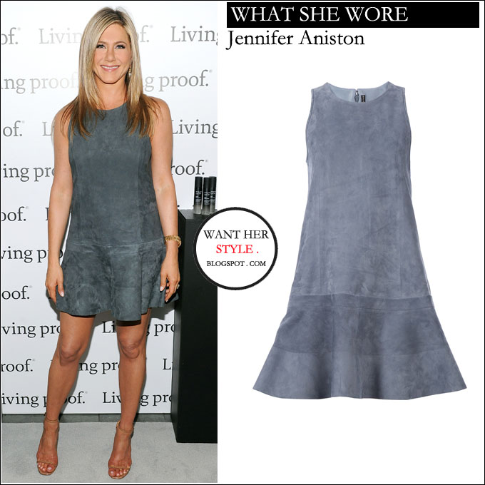 What She Wore Jennifer Aniston In Grey Suede Mini Dress In New York