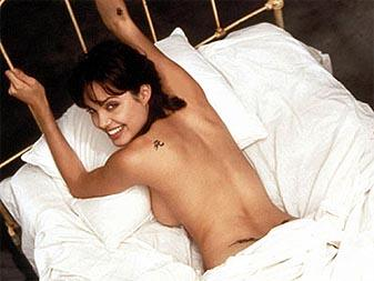 Angelina Jolie Playing Nude on Bed. Angelina Jolie Eye Color and Makeup