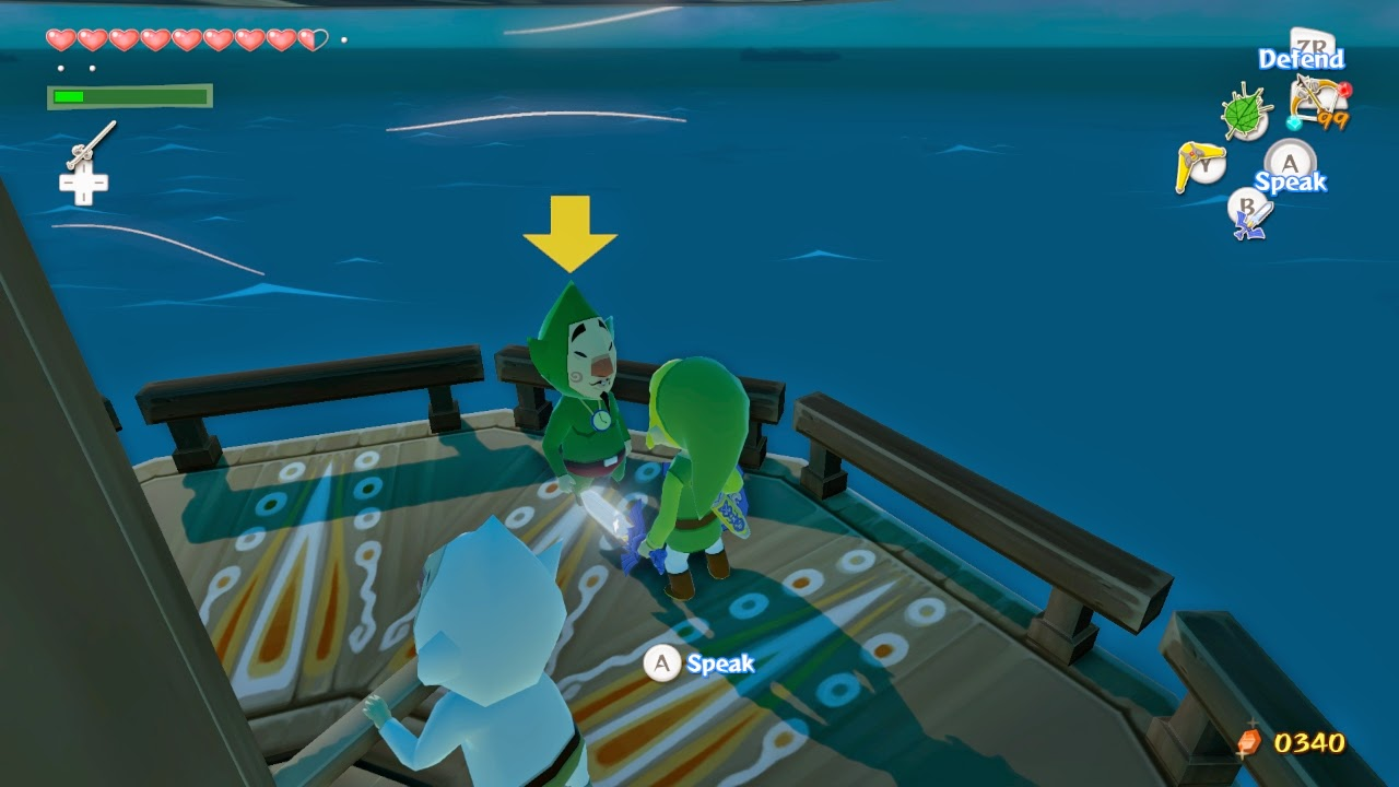 Link stands on the tower at Tingle Island facing Tingle with his sword drawn.