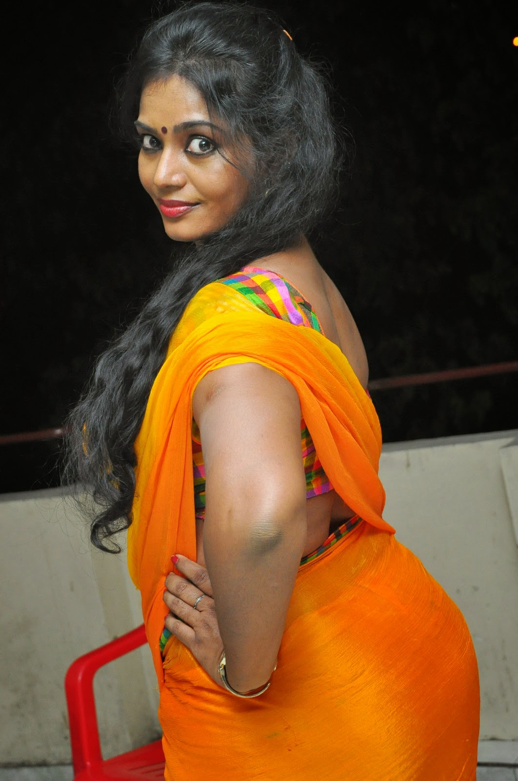 Jayavani glam pics in saree-HQ-Photo-7