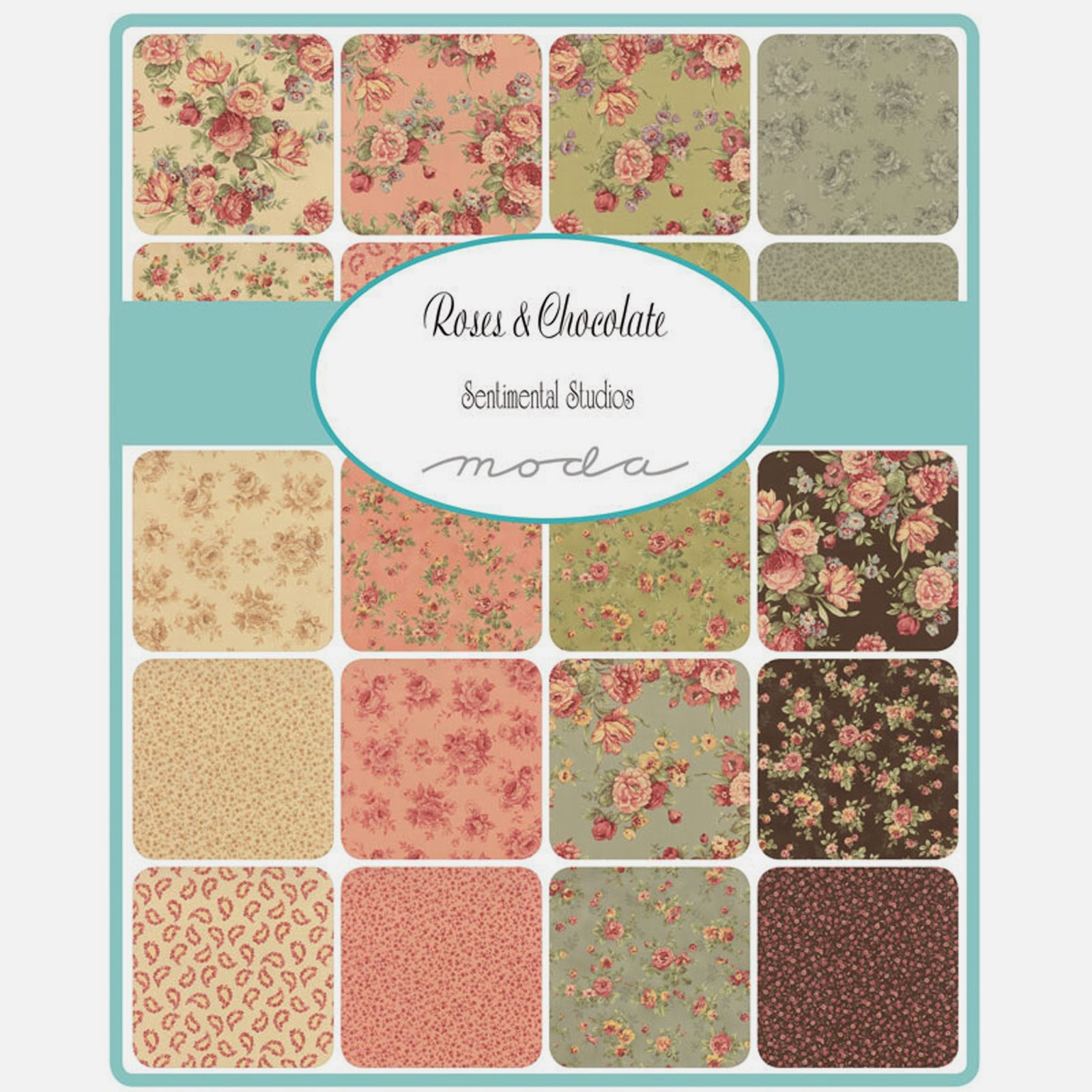 Moda ROSES & CHOCOLATE Fabric by Sentimental Studios for Moda Fabrics