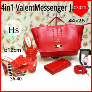 Tas: Tas  Sets 4 in 1 Vallent Red Meirs (TBB-004)