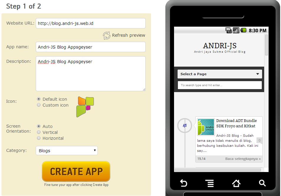 Membuat Aplikasi Blog Untuk Android Tanpa Coding | Andri-JS