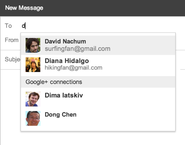Google+ facilitates sending email to Gmail, Google+ sending email to Gmail, internet,
