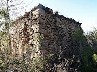 Vista del cantó nord de la barraca de vinya del Clot de la Seuva