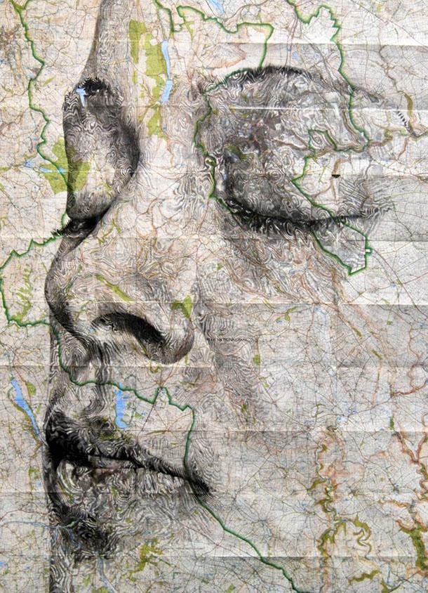 Retratos sobre mapas antigos - Ed Fairburn