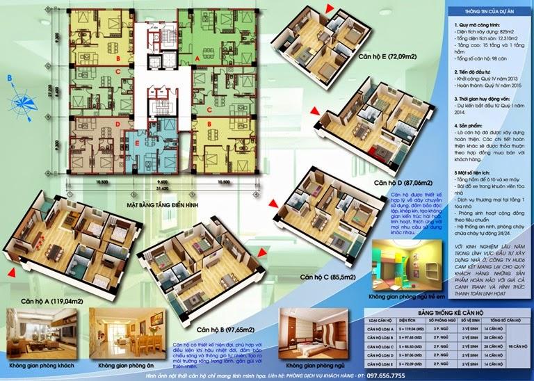 Tổng quan sơ đồ bố trí căn hộ chung cư D2CT2 Tây Nam Linh Đàm