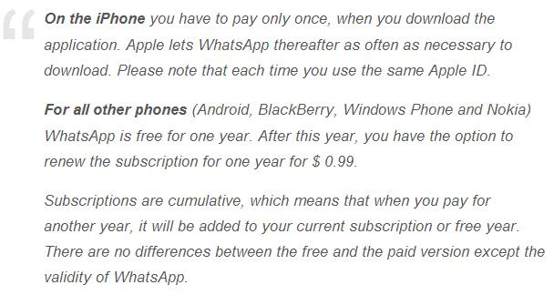 whatsapp now will charge for android
