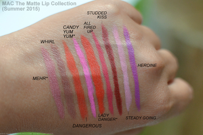 MAC The Matte Lipstick Collection Summer 2015 Swatches Mehr Whirl Dangerous Candy Yum Yum Lady Danger All Fired Up Studded Kiss Steady Kiss Steady Going Heroine