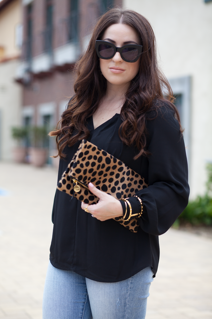 clare v. leopard clutch, karen walker sunglasses, gorjana ring