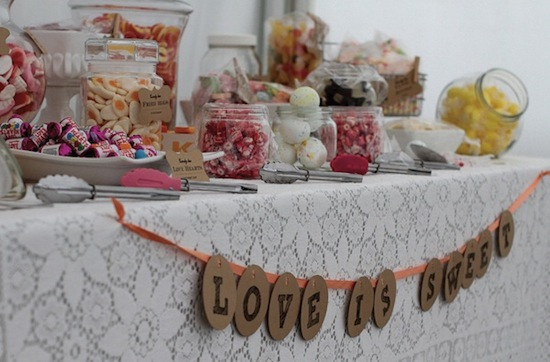 This Love Is Sweet candy buffet table garland is my favorite of the week