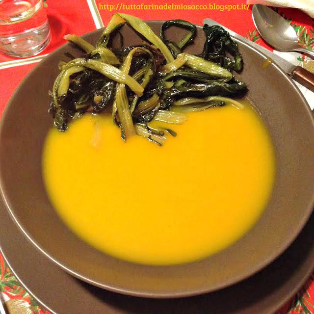 zuppa di zucca con cicoria saltata