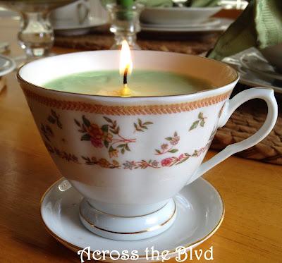 DIY tea cup candle