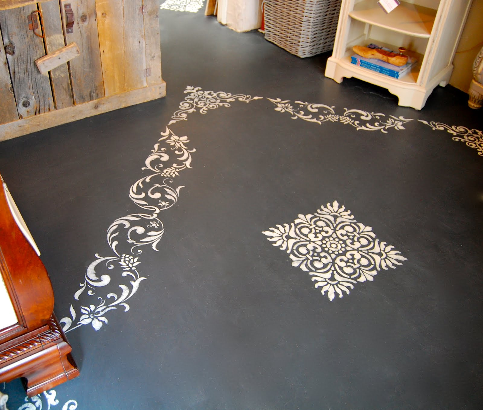 Shades of amber chalk paint floors and lacquer for Painted concrete floor ideas